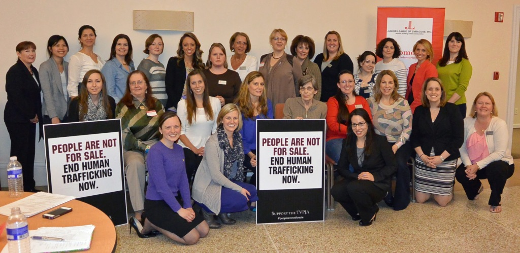 The Junior League of Syracuse raised awareness in support of the Trafficking Victims Protection and Justice Act (TVPJA), April 2013
