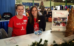 Junior League of Syracuse members educating the public about human trafficking at 2014's Holiday Shoppes